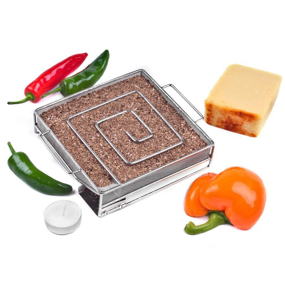 ZDYLM-Y Cold Smoker Barbecue Smoking Square Smoke Basket Stainless Steel Barbecue BBQ Smoker Accessory for Cold Smoking