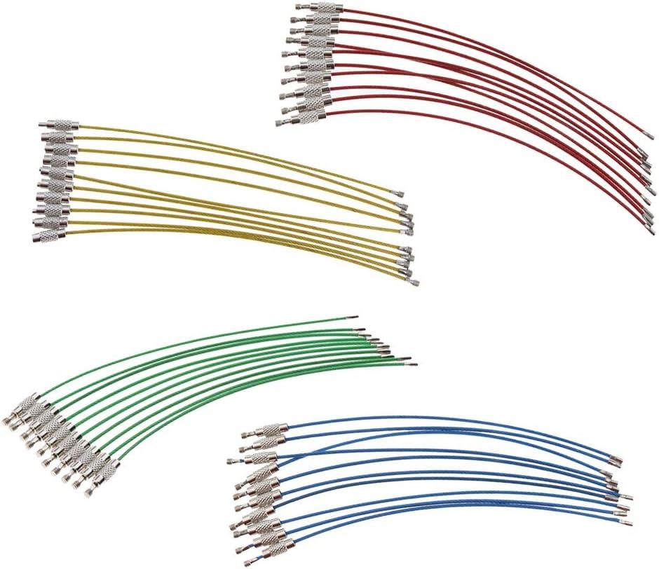 perfeclan 40 Uds 4 Colores Cable Ligero Bucle de Alambre Etiqueta de Equipaje Llavero Anillo Bloqueo de Tornillo Accesorios Multiusos de Utilidad para Exterior