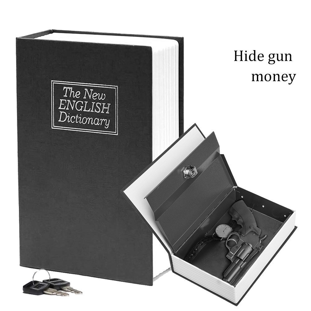 Book Safe with Key Lock-HENGSHENG Dictionary Diversion Secret Book Safe,Full Size 9.5 x 6.1 x 2.1 inches-Black