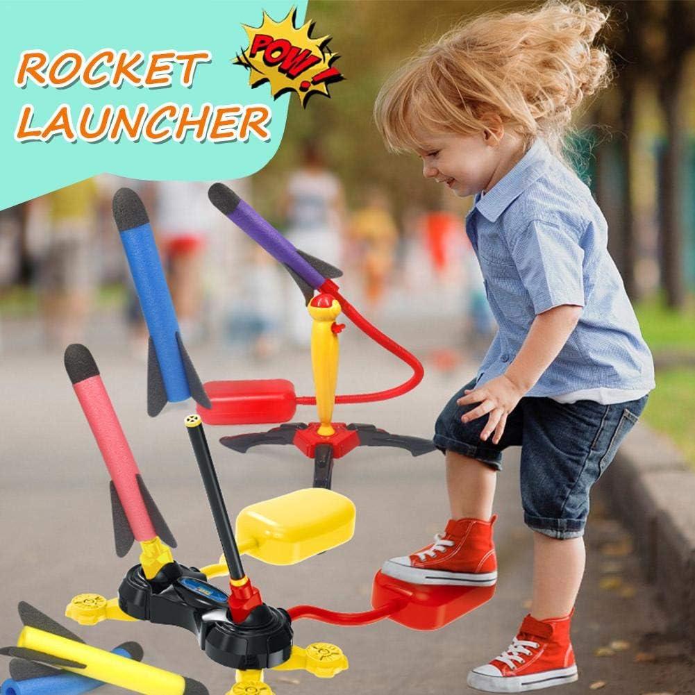 Dreameryoly Childrens Toys Pedal EVA Rocket Launcher Pneumatic Launch Rocket Launcher