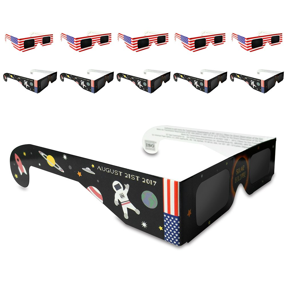 Eclipse glasses-safeソーラーシェードと表示spectacles-ビューアとfilter- CEとISO認定、10パックAssorted   B071J5H2VV