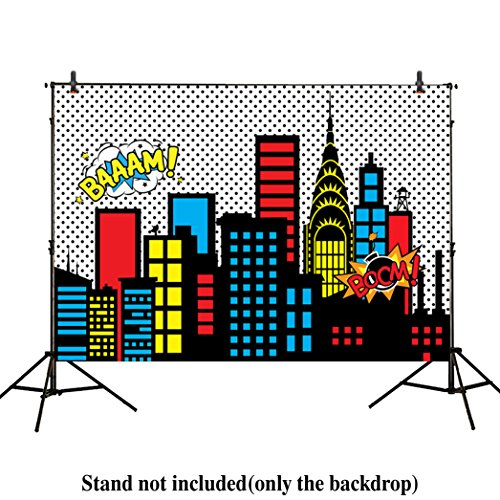 Allenjoy 7x5ft photography backdrops superhero super city skyline buildings children birthday party event banner photo studio booth background baby shower photocall Vinyl (Superhero Buildings)