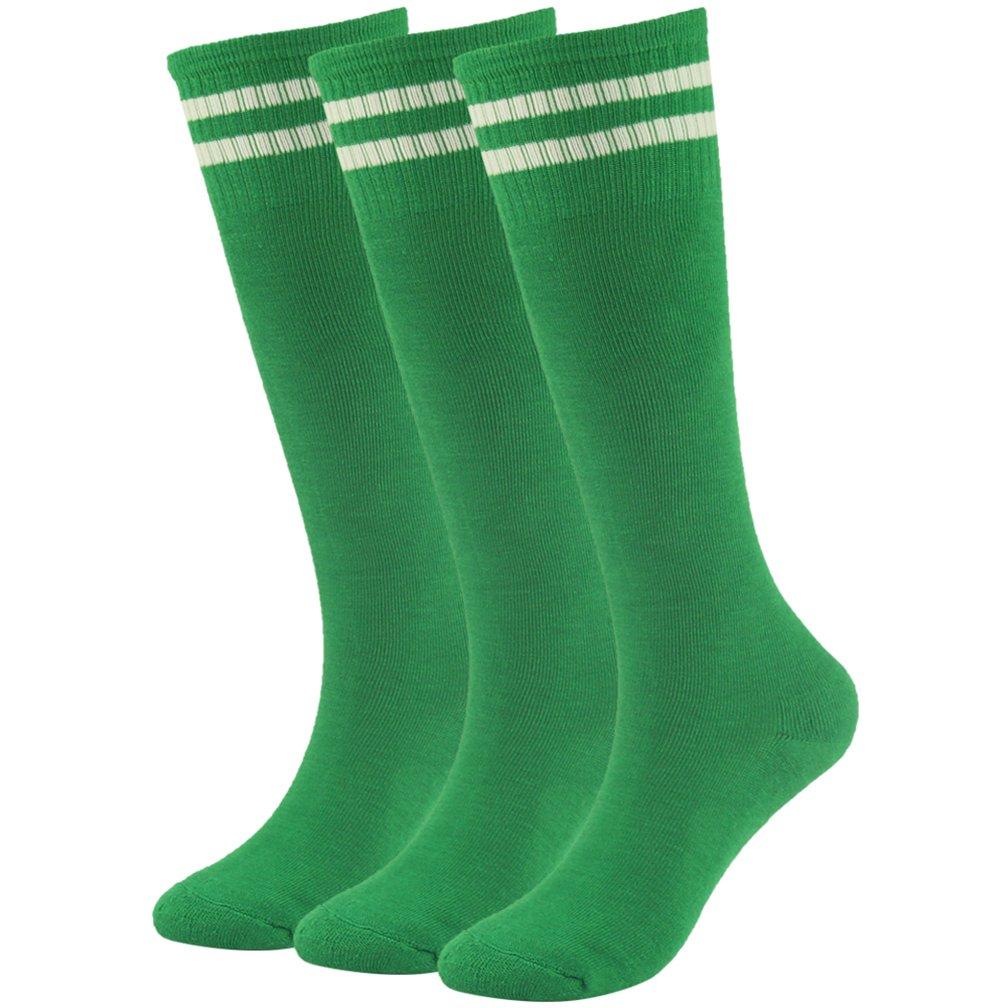 Soccer Socks Boys Socks Fasoar Over Knee Striped Half Cushion Athletic Socks 3 Pairs Green by Fasoar