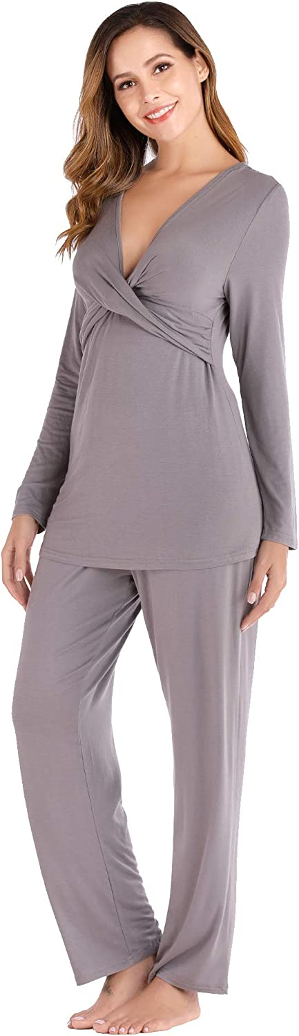 Evelife Womens Maternity Nursing Pajamas Set Long Sleeve Breastfeeding Pregnancy Clothes Sleepwear Nursing Pjs Nightwear for Home Hospital