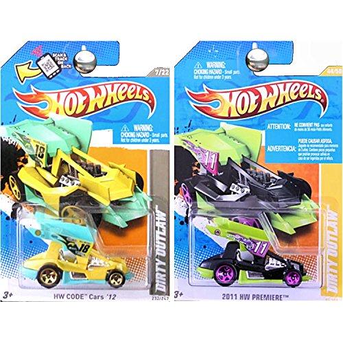 Hot Wheels Dirty Outlaw Sprint Car Black Purple Yellow Aqua SET OF 2