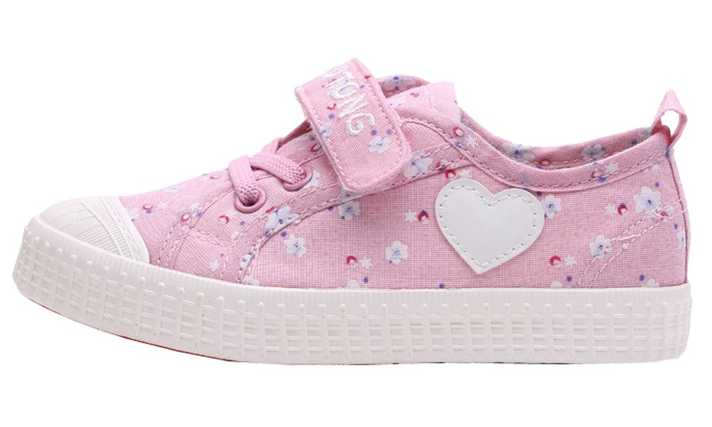 VECJUNIA Girls Sweet Floral Heart Painted Round Toe Canvas Shoes Pink 12.5 M US Little Kid by VECJUNIA (Image #1)