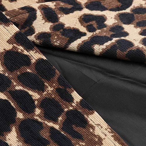 Estampado de Casual Cardigan VJGOAL Invierno Largo de Sexy Mujeres Las Windbreaker Abrigo Moda Leopardo New Warm Marrón X0qYgp