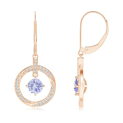 Angara Pink Sapphire Open Circle Drop Earrings with Diamond Accents in 14K White Gold aKsHD9