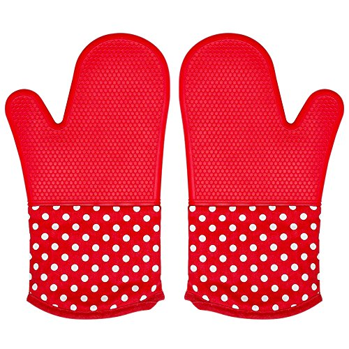 Silicone Oven Mitt for Grill, 1 Pair Extra Long Large Heat Hot Resistant Potholder Glove, Suitable Dishwasher Microwave Duch Countertop Oven, Kitchen Professional Heavy Duty Baking Cooking BBQ Mitten -