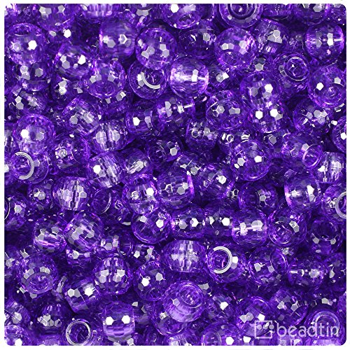 Faceted Barrel - BeadTin Amethyst Transparent 9mm Faceted Barrel Pony Beads (500pcs)