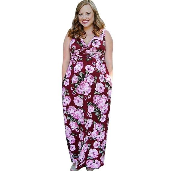 BBsmile Ropa premamá Enfermería para Mujeres Vestido de Embarazo sin Mangas Maternidad de Estampado Floral Vestido