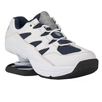 f4379ab3d6b Z-CoiL Pain Relief Footwear Men's Freedom Slip Resistant Navy White Leather  Tennis Shoe