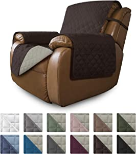 Easy-Going Oversized Recliner Reversible Sofa Cover Furniture Protector Couch Cover Water Resistant Elastic Straps PetsKidsDogCat(Oversized Recliner,Chocolate/Beige)