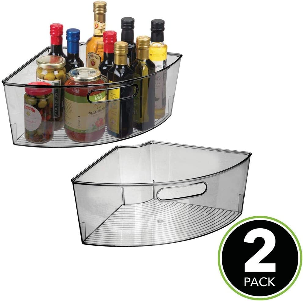 Amazon Com Mdesign Kitchen Cabinet Plastic Lazy Susan Storage Organizer Bins With Front Handle Large Pie Shaped 1 4 Wedge 6 Deep Container Food Safe Bpa Free 2 Pack Smoke Gray Kitchen Dining