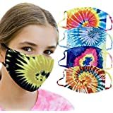 Mkcether 4PC Kids Tie dye Color Protect Face_Mask Washable Reusable Soft Blend Fabric For Chilrdren's Safety Protection