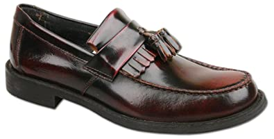 49126fc09ab4a Mens New Oxblood Leather Slip On Toggle Tassel Loafer Shoes