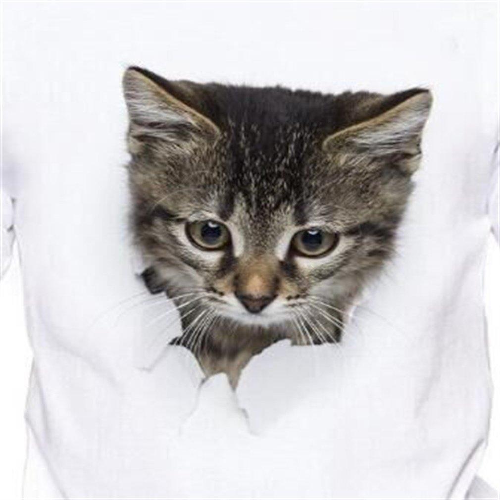 DALAI Warm White 3D Cat Print Short-Sleeved Mens T-Shirt at Amazon Mens Clothing store: