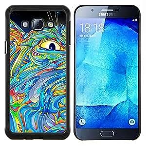 TECHCASE---Cubierta de la caja de protección para la piel dura ** Samsung Galaxy A8 ( A8000 ) ** --Ojo Pintura Abstracta Gato colorido azul