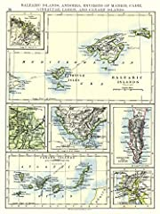 Vintage Map | 1897 Balearic Islands, Andorra, Environs of Madrid, Cadiz, Gibraltar, Lisbon and Canary Islands |