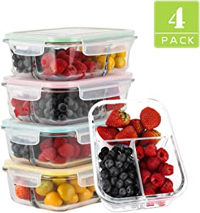 【4Pack, 34OZ】- Glass Meal Prep Containers 3 Compartment, Glass Food Container with Lids, Bento Box, Airtight Glass Lunch Containers, Microwave, Oven, Freezer, Dishwasher Safe (4 lids & 4 Containers)