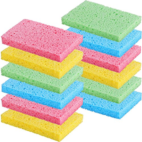 Chuangdi 12 Pack Cleaning Scrubbing Sponge, Kitchen Cellulose Dish Sponge for Removing Hard Dirt, Oil, Non-Scratch on Windows Non-Stick Pan, Assorted Colors, Size 12 x 7.6 x 1.5 cm by Chuangdi (Image #8)