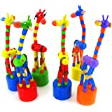 Bluester Toys,Kids Intelligence Toy Dancing Stand Colorful Rocking Giraffe Wooden Toy 1pc