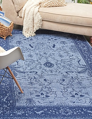 - Synthesized Modern and Traditional Design - Blue, 4' x 6'-Feet St. Albans Collection Area rug - Vintage Contemporary Living Dining Room - Bedroom Decoration Rugs and Carpets