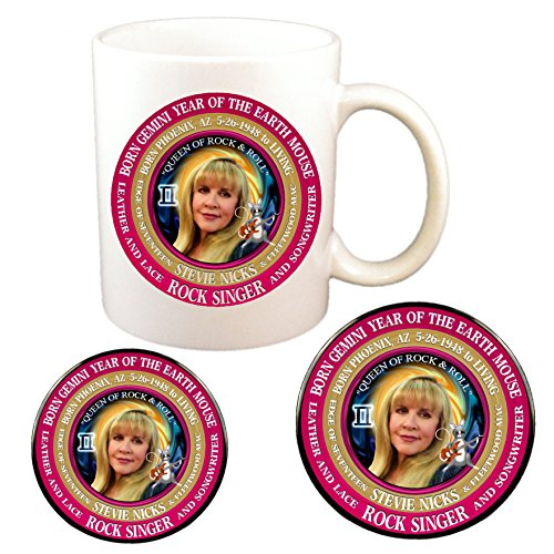Stevie Nicks 70's Singer Cup + Magnet + Pin, Astrology Gemini Zodiac Earth Mouse