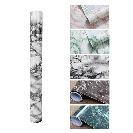 KINLO Muebles Pegatinas de Mármol PVC Papel Pintado Adhesivo Pegatinas Impermeable para Mueble /Pared/Vidrio/Electrodomesticos Tamaño 0,61 * 5M