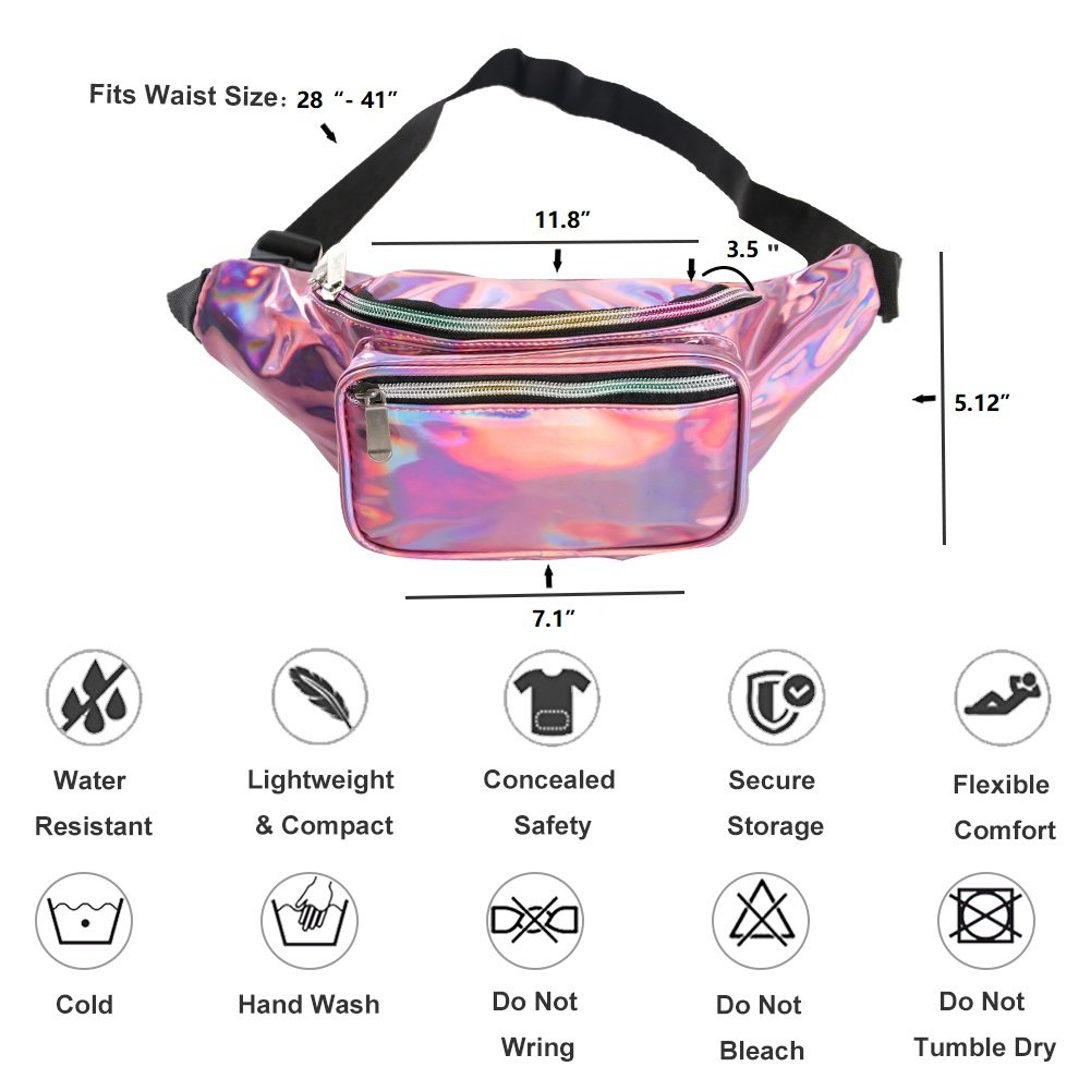 Holographic Fanny Pack for Women - Waist Fanny Pack with Adjustable Belt for Rave, Festival, Travel, Party by Mum's memory (Image #3)
