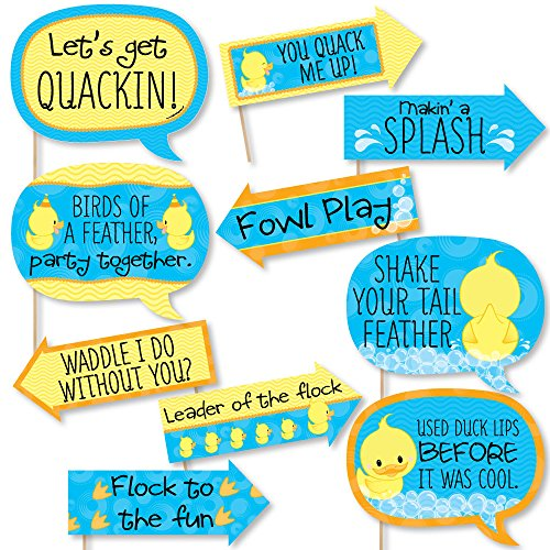 Funny Ducky Duck - Baby Shower or Birthday Party Photo Booth Props Kit - 10 Piece -