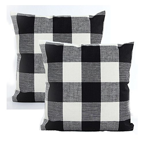 AENEY Black and White Plaid Throw Pillow Covers 18 x 18 Inch Retro Checkers Decorative Pillowcase Linen Square Home Decor Cushion Case for Couch Sofa Chair Bed Set of 2 - Plaid High Chair Cover