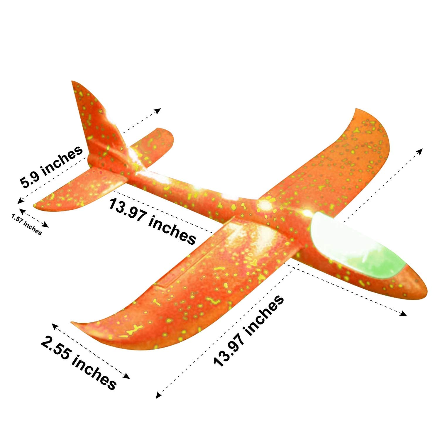 Airplane Toys Throwing Foam Plane, 13.5'' Inch LED Light Up Glider Airplane Model Toy with Dual Flight Mode Challenging Outdoor Plane Jet Sports Game Flying Toys Gift for Kids Toddlers Teens (2 Pack) by AMENON (Image #3)