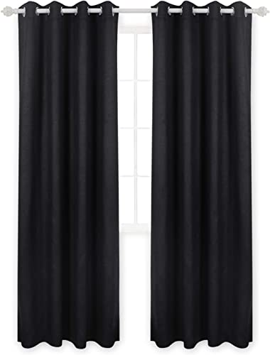 Deconovo Blackout Energy Efficient Grommet Thermal Insulated Panels Texture Embossed Room Darkening Blakout Curtains