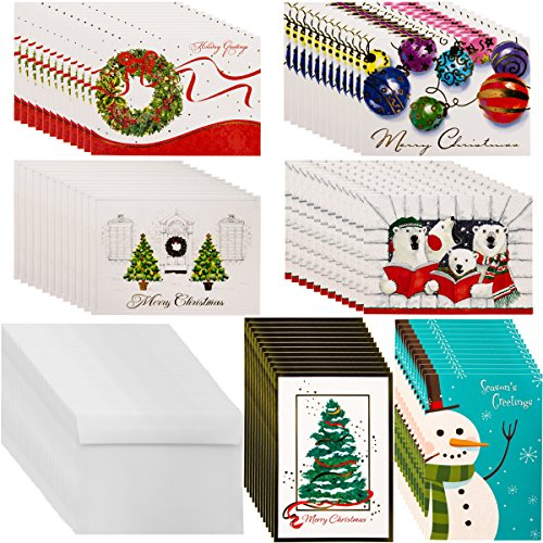 Designer Greetings (72ct) Holiday Cards & Envelopes Christmas Greetings Bulk Boxed Sets Glitter Foil (Christmas Cards Inside Of Sayings)