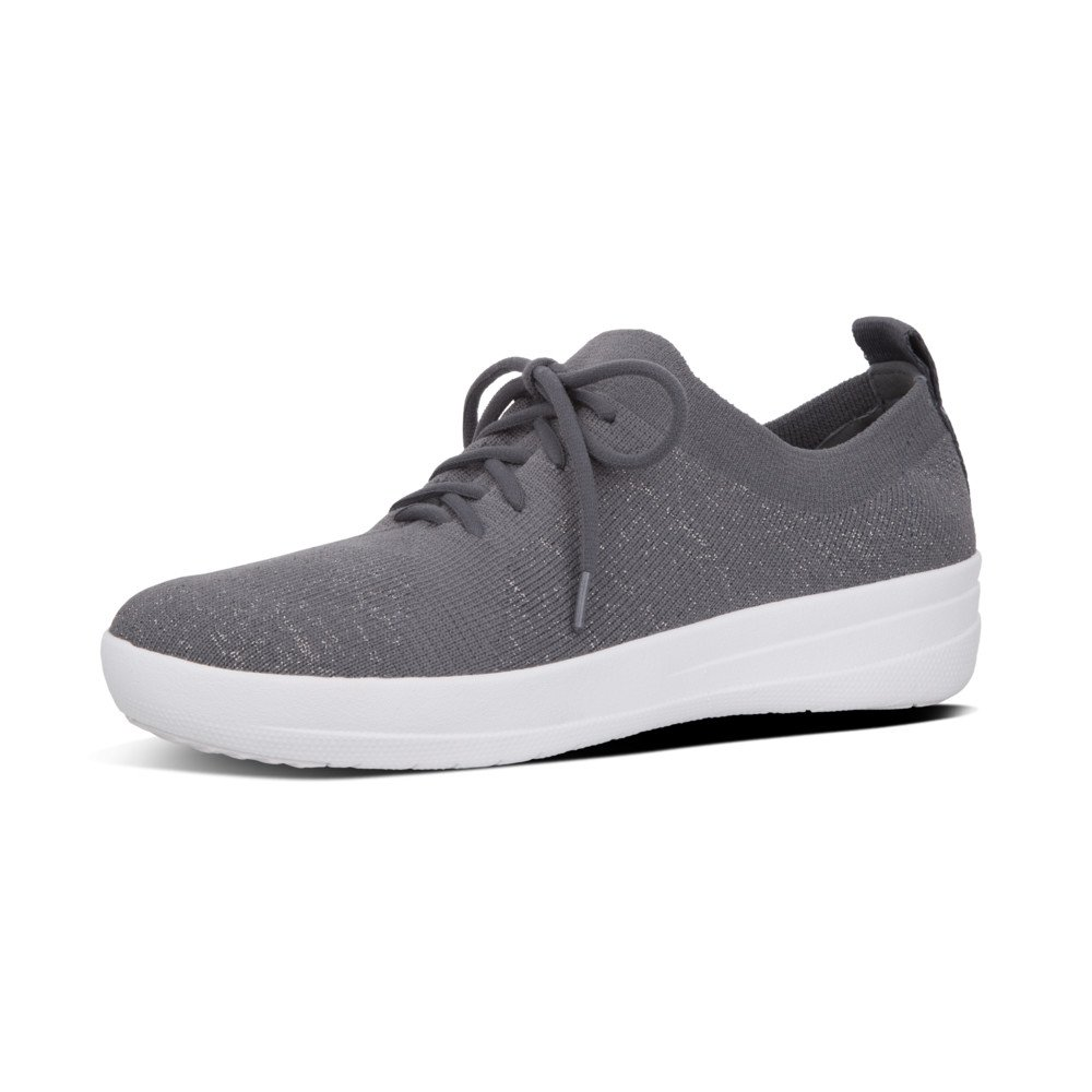 FitFlop Women's F-Sporty Uberknit Sneakers Charcoal/Metallic Pewter 7.5 M US