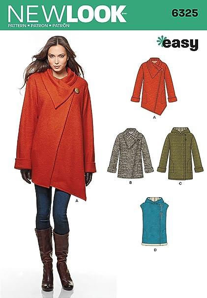 81d8e76d9ce New Look Size A XS - S - M - L - XL Easy Sewing Pattern 6325 Misses  Easy  Coat and Vest