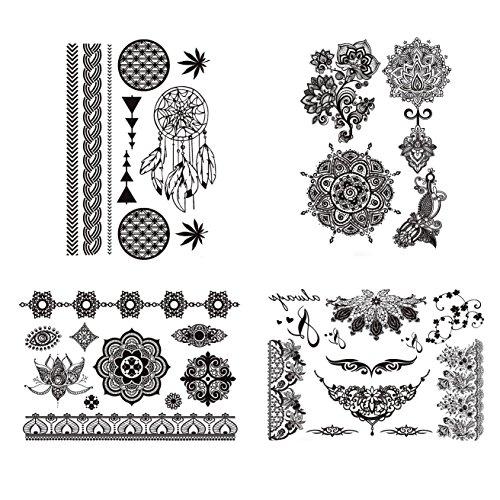 Free Shipping Cokohappy 4 Sheets Black Lace Temporary Tattoo