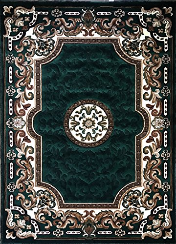 Hunter Green Area Rug - Kingdom Traditional Area Rug Hunter Dark Green Persian Design D123 (8 Feet X 10 Feet)