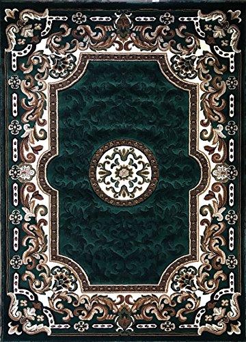 Kingdom Traditional Area Rug Hunter Dark Green Persian Design D123 (8 Feet X 10 Feet)