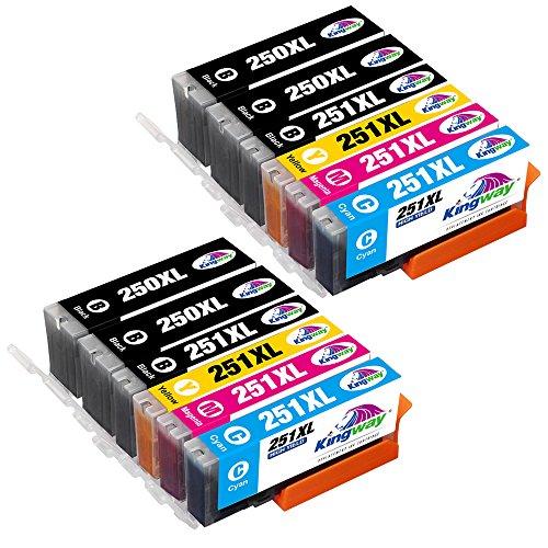 Kingway PGI-250 CLI-251 PGI-250XL CLI-251XL Compatible Canon 250 251 Ink Cartridge for Canon PIXMA MX922 MG5520 MG5420 MG6620 MG5620 IP7220 IX6820 MG6420 Printer (2 Set+2BK)