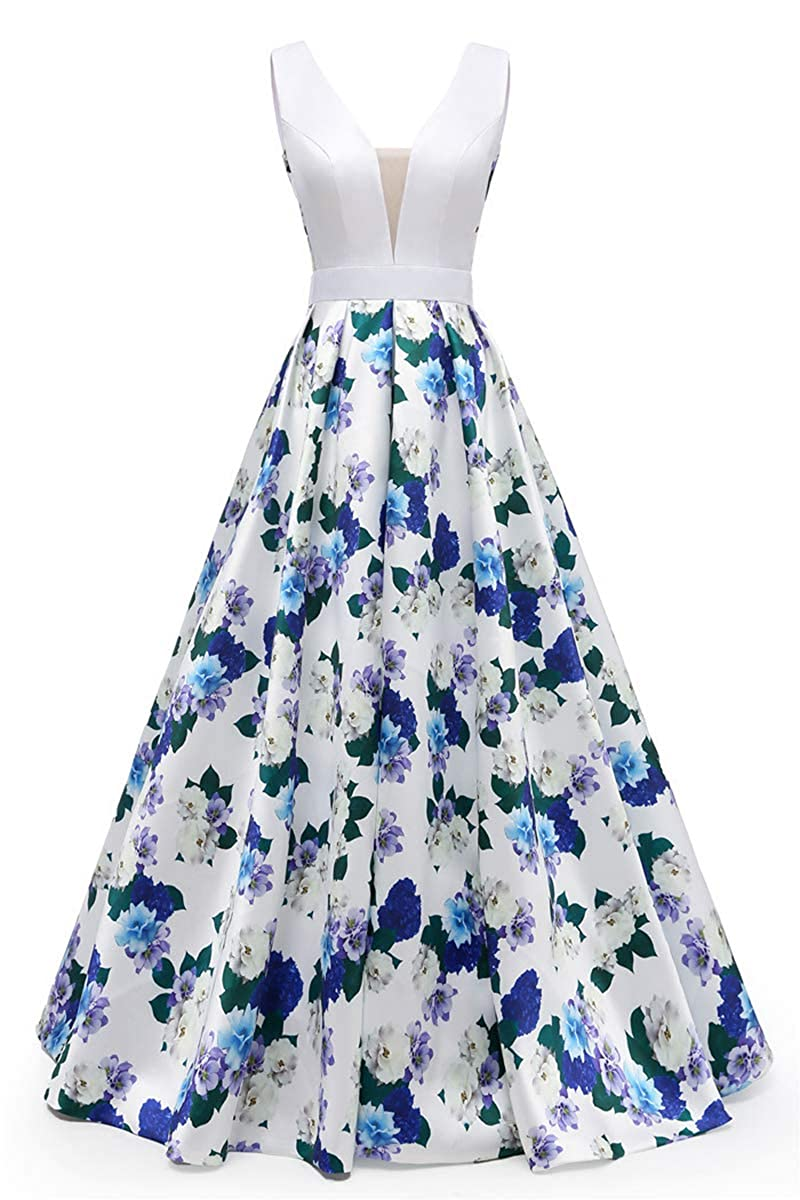 White Floral1 FWVR Floral Print Evening Dresses for Women Formal Long Prom Wedding Party Gowns