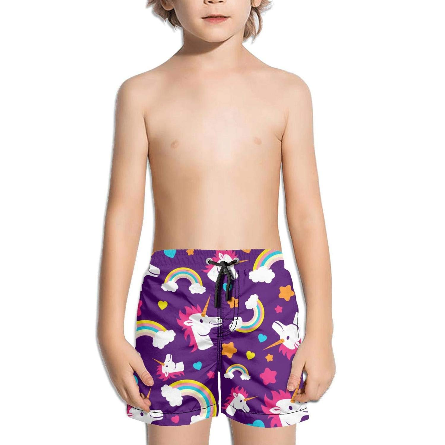 Unicorn Rainbow Supper Strar Kid Swimming Trunks Printed Swim Shorts for Boys Ruched Beach Shorts for Girls