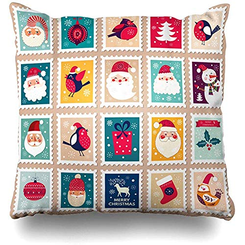 - Throw Pillow Cover Post Santa Christmas Cheerful Cute Stamp Holiday Postage Sock Snowflake Letters Square Cushion Sofa Pillowcase 18 x 18 Inches Home Decor Pillow Case