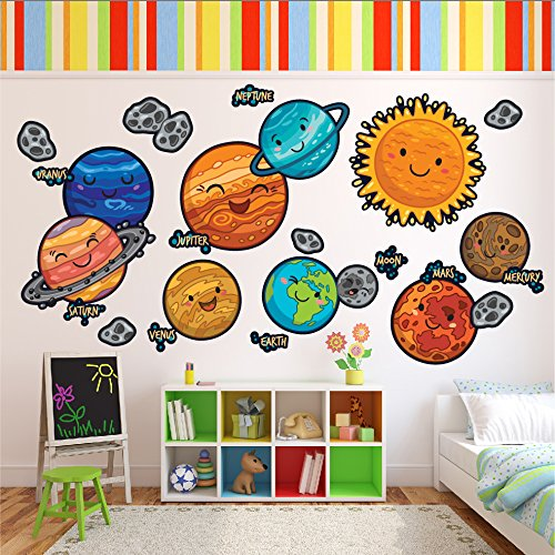 Wallmonkeys Happy Cartoon Solar System Wall Decal Sticker Set for Kids WM502437 ()