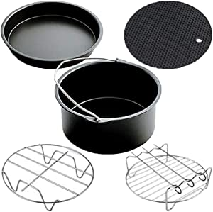 RedSuns 7 inch Air Fryer Accessories Set of 5 Fit for 2.3Qt to 5.2Qt Non-Stick Air Fryer Accessories