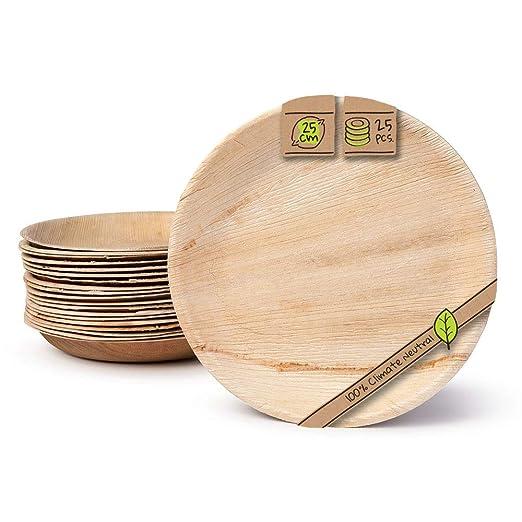 BIOZOYG Platos de Hojas de Palma I 25 Piezas de ojas de Palma Redondo Ø 25 cm I Bio vajilla desechable Boda compostable Biodegradable Vajilla de ...