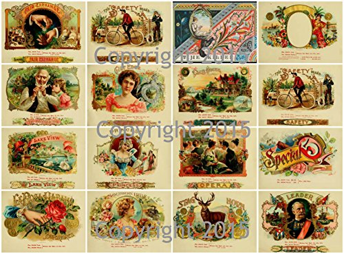 (Vintage Victorian Cigar Labels Collage Sheet Art Images for Decoupage, Scrapbooking, Jewelry Making)