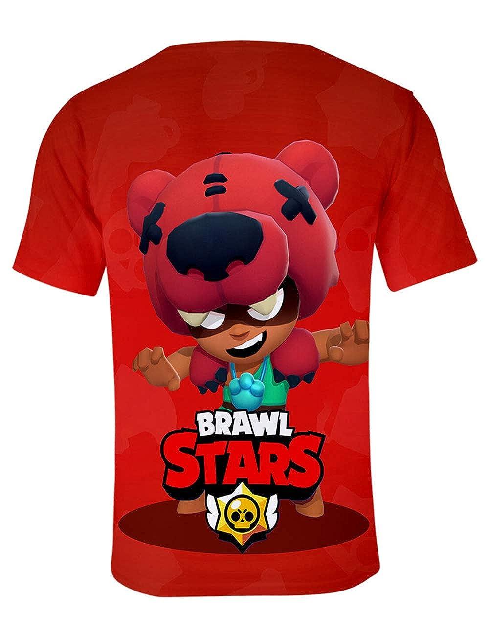 Elegante Uomo Maglietta Brawl Stars Maniche Corte Maglia con Stampa 3D Estate Tee T-Shirt Casuale Camicia Tops Camicetta Blusa Maglietta da Ragazzo Bambini