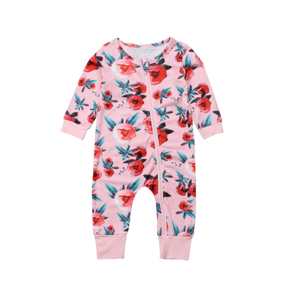 Baby Girl Flower Print Long Sleeve Zipper Romper Pajama Autumn Winter Casual Jumpsuit
